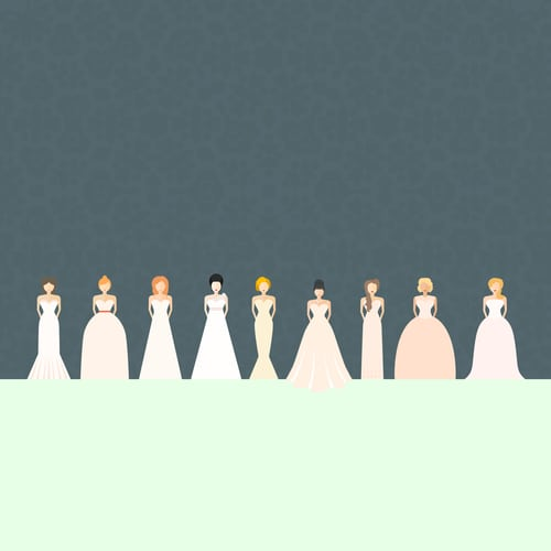 A vector of four brides in different wedding dress styles