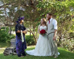 A Norman's bride and groom at their Maui ceremony.